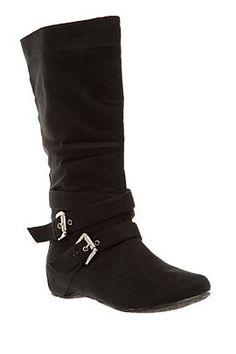 black flat buckle boots