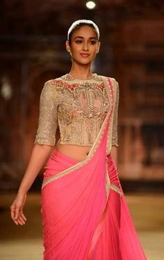 Designer Sarees Collection, Saree Collection, Indian Attire, Indian Outfits, Indian Clothes, Ileana D'cruz Hot, Saree Gown, Fashion Week 2018, Latest Fashion Design
