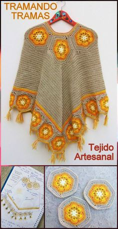 Crochet Squares Patterns Crochet Hexagon Poncho - 50 Free Crochet Poncho Patterns for All - Page 3 of 9 - DIY Crochet Poncho Patterns, Granny Square Crochet Pattern, Crochet Squares, Knitted Poncho, Crochet Shawl, Cute Crochet, Vintage Crochet, Crochet Capas, Crochet Videos