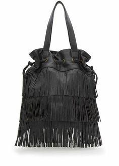 MANGO - Fringed tote bag