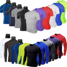 Mens Sports Compression Shirt Vest Gym Fitness Workout Base Layers Tights Skins