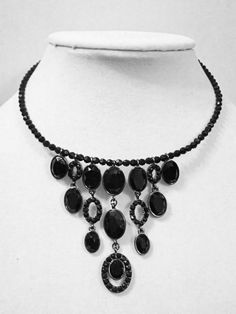 Jet Black Black Beaded Collar Statement Necklace #LizClaiborne #Statement