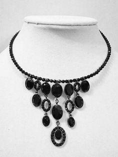 Jet Black Black Beaded Collar Statement Necklace #LizClaiborne #Statement