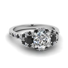 Round Cut diamond Halo Engagement Rings with Black Diamond in 14K White Gold