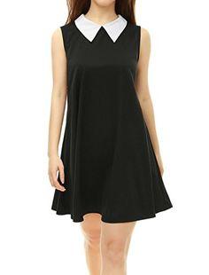 harrietmollyWomen Dresses Fashion · Women s Contrast Peter Pan Collar  Sleeveless Swing Dress Peter Pan Collar Dress c62e2d673918