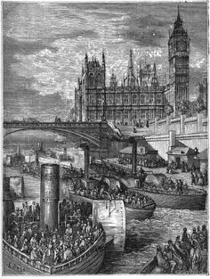 'Westminster Stairs - Steamers Leaving' - Gustave Dore, 1872