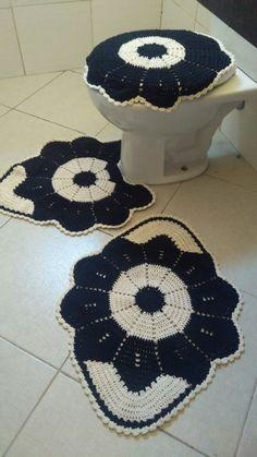 Jogo de banheiro Anita Knitting Patterns, Sewing Patterns, Crochet Patterns, Crochet Squares, Crochet Stitches, Crochet Diagram, Crochet Home, Crotchet, Crochet Projects