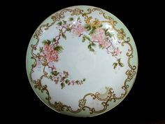 50% OFF! Large 12 3/4' Limoges Porcelain Wall Plaque/ Charger / Cabinet Plate ~ Hand Painted with Cherry Blossoms ~ Delinieres & Co 1894-1910