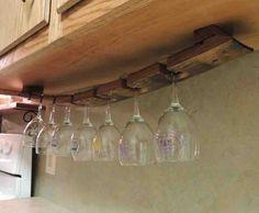 Wine Barrel Stave Under Cabinet Hanging Glass Rack by CorkToBarrel Hanging Wine Glass Rack, Wine Glass Holder, Rack Design, Küchen Design, Design Ideas, Wine Barrel Crafts, Barrel Projects, Diy Projects, Wine Barrel Furniture