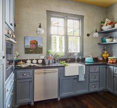 Blue cottage kitchen pantry