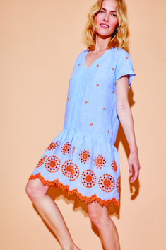Linen dress with embroidery Spring summer