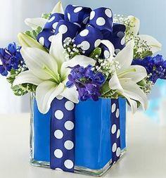 Blue Gift Box Floral Bouquet