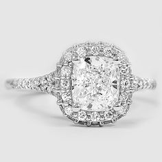 Platinum Circa Diamond Ring // Set with a 1.73 Carat, Cushion, Super Ideal Cut, G Color, VS1 Clarity Diamond