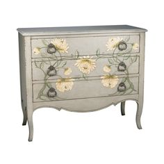 Add simple elegance to your home with this eye-catching Hand-painted Peony 3-drawer Chest. Finished with a rich grey, this piece will elevate the existing decor in your home. Set includes: One (1) che