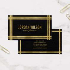 #personalize - #Elegant Bold Borders Black Faux Gold Event Planner Business Card