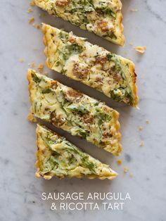 Sausage Arugula Ricotta Tart @FoodBlogs