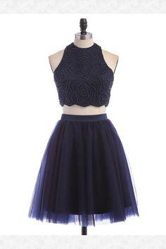 Blue Homecoming Dress, Navy Blue Homecoming Dress, Homecoming Dress Two Piece, Homecoming Dress A-Line #BlueHomecomingDress #NavyBlueHomecomingDress #HomecomingDressTwoPiece #HomecomingDressALine Homecoming Dresses 2018