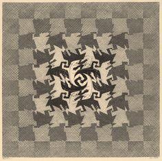 M.C. Escher Development I, 1937, Woodcut