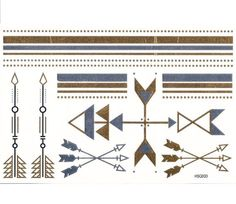 Temporary Metallic Gold Silver & Black Arrows Lines & Dots Tattoos