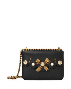 Peony Small Leather Chain Shoulder Bag, Black by Gucci at Neiman Marcus.