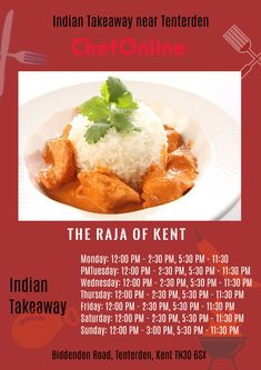 The Raja of Kent offers delicious Indian, bangladeshi Food in Tenterden, Kent Browse takeaway menu and place your order with ChefOnline. Order Takeaway, Bangladeshi Food, Indian Food Recipes, Ethnic Recipes, Tunbridge Wells, A Table, Menu, Wellness, Restaurant