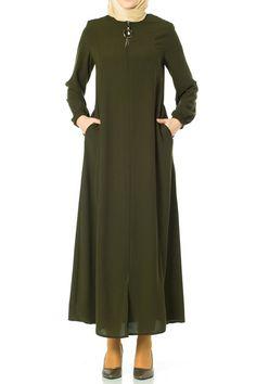 Butikzade - Serpil Ferace DF-1110-09-Haki Duster Coat, Jackets, Model, Internet, Weight Loss, Fashion, Tents, Down Jackets, Moda
