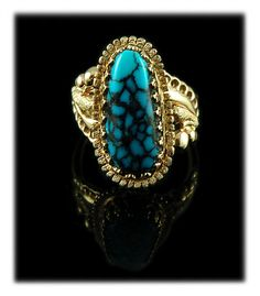 Gold Heirloom Turquoise Jewelry with spiderweb Blue Wind Turquoise