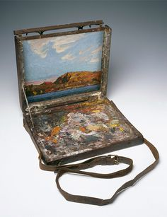 Tom Thomson's sketch box, National Gallery of Canada. Tom Thomson Paintings, Pochade Box, Sketch Box, Emily Carr, Group Of Seven, Gear Art, Pure Genius, Air Gear, Artist Studios