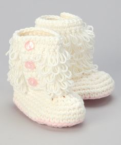 Cream & Pink Crochet Loop Booties