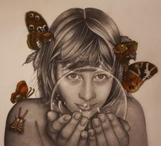 "Alessia Iannetti, ""Gelsomina"", 2011, graphite and colored pencils on paper."