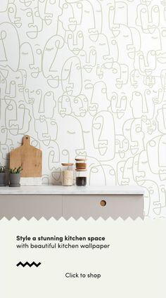 Sage Line Drawing Wallpaper Kitchen Wallpaper Murals, Funky Wallpaper, Drawing Wallpaper, Feature Wallpaper, Beautiful Kitchens, Cool Kitchens, Face Line Drawing, Farm Crafts, Camilla