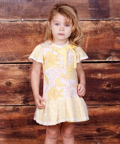 Yellow Buttercream Floral Bow Dress - Infant, Toddler & Girls by Jelly the Pug #zulily #zulilyfinds