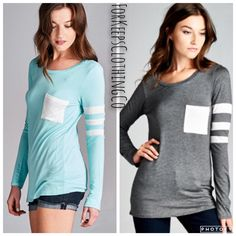 This is sooooo cute! And so nicely made! Only $27 with Free Shipping in the US!    Sizes SMALL, MEDIUM, and LARGE (fit very true to size).    Charcoal or Mint - long sleeve tee, with white stripes and pocket front. Rayon/spandex blend. So soft! Long and lean!      | Shop this product here: spreesy.com/Forkeepsclothingco/84 | Shop all of our products at http://spreesy.com/Forkeepsclothingco    | Pinterest selling powered by Spreesy.com