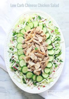 Chinese chicken salad! This Asian inspired salad is hearty, easy to make, and I haven't made it for a single person who didn't love it! Great for parties and picnics when you need a dairy and egg free option! Gluten free, keto, low carb, paleo