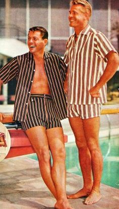 The Cabana Set Boys of Summer  A humorous look at a mid-century suburban beach club where on weekends the sun worshiping ladies were joined by groups of stogie smoking, pot-bellied men dressed in eye catching cabana sets.  #vintageads #mensfashion #1960s #1950s