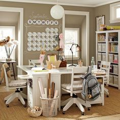 Desks, shelves, calendar, file cabinets.  Would work great for my fab four!