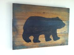 Large Rustic Black Bear on Wood - Hand Painted, Weathered Wall Hanging , Cabin Decor, Rustic Decor, Primitive Home Decor. by TuckersMercantile on Etsy https://www.etsy.com/listing/178897997/large-rustic-black-bear-on-wood-hand