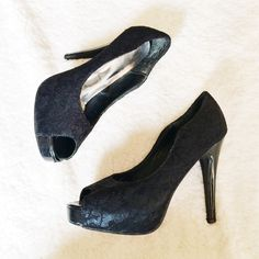 Black Lace Peep Toe Heels (PRICE FIRM) These have been worn multiple times. The insoles need to be replaced, but the exterior is still in pretty good condition (hence the cheap pricing). The flaws are shown above—there are scratches on the back of the heels and some thread sticking out. Heels: 4.5-5in.  ✅BUNDLE DISCOUNTS! No trades/paypal/other apps. Circle Shoes Heels