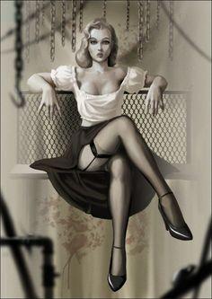 I'll call this a sensual post modern noir pin-up...