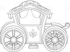 Carruagem livro de colorir página vetor e ilustração royalty-free royalty-free