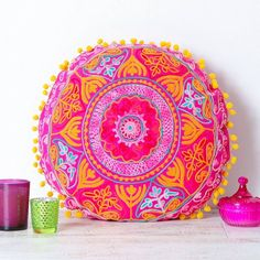 Add a touch of colour to your home this season with these beautiful handmade Indian embroidered cushions.