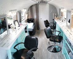This would be neat for on location services, like a wedding day event. Beauty salon in a vintage Airstream trailer!
