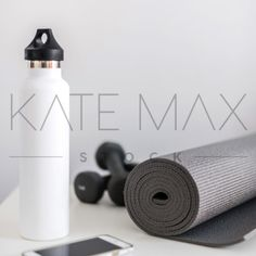 Transform your feed! Make your business shine with IG-ready professional style stock photos! Over 2500 at your fingertips with a KateMaxStock membership! Stylish minimal workout flat lay with marble phone case, black nikes, and yoga mat. katemaxstock-2537