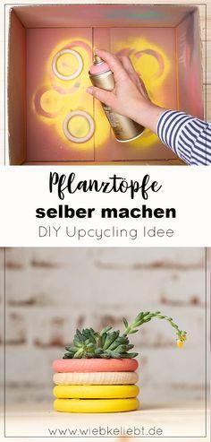 DIY Pflanztöpfe aus Holzringen basteln. Schöne Upcycling Idee für kleine Pflanztöpfe. Pflanztöpfe für Ableger einfach und schnell selber machen. #upcycling #pflanztöpfe #ableger #babypflanzen #holzringe #holz Voss Bottle, Water Bottle, Diy Recycling, Diy Inspiration, Diy Blog, Crafts To Make, How To Make, German, Challenge