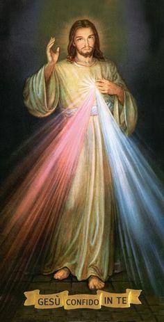Clicca sulle immagini per ingrandire Schema a punto croce per realizzare un grande quadro raffigurante la Divina Misericordia. Un...