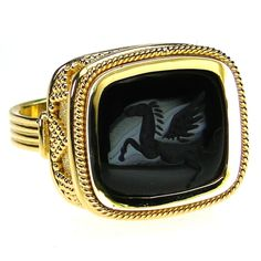 Damaskos Carved Onyx Pegasus Intaglio Ring, 18k Gold and a carved Onyx. This and more handmade Greek jewelry at Athena's Treasures: www.athenas-treasures.com