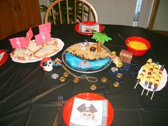 Peter Pan movie night. On the menu: Pirate Ship Pizzas, Pirate's teeth (corn), Fruit Swords, Buried Treasure Brownie. Search for golden coins and ring pops around the house. Also search for Tick Tock Croc (hide ticking kitchen timer).