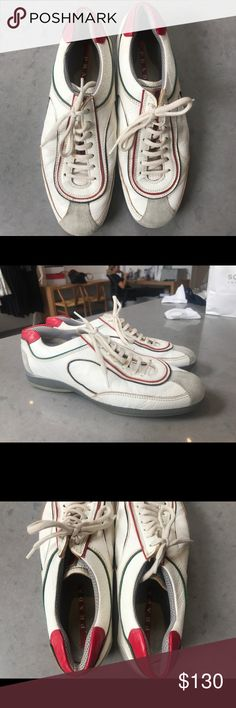 Prada Shoes Beautiful 100% Authentic Prada shoes. They are very cute and sporty. You can wear them with a pair of jeans or a cute workout outfit! In excellent condition. Fits like a 7.5-8 Prada Shoes Sneakers