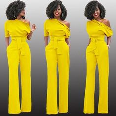 0d2a7160b548 Yellow Asymmetric Shoulder Sashes Irregular Fashion Long Jumpsuit