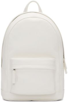 36b08ae114 Unstructured brushed leather backpack in white. Rope shoulder straps in  black featuring eyelet accents.